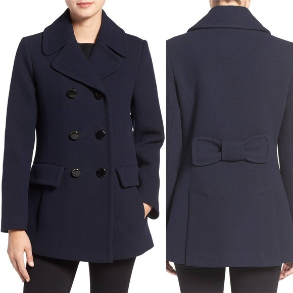 kate spade Jackets & Blazers - NWT Kate Spade NY Wool Blend Peacoat Navy Blue Bow